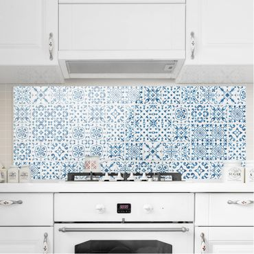 Paraschizzi in vetro - Tile pattern Blue White - Panoramico