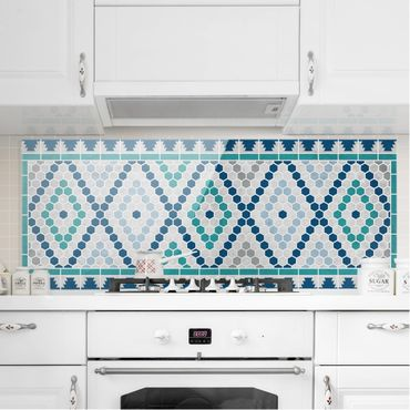 Paraschizzi in vetro - Moroccan tile pattern turquoise blue - Panoramico