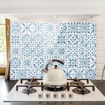 Paraschizzi in vetro - Tile pattern Blue White - Orizzontale 2:3