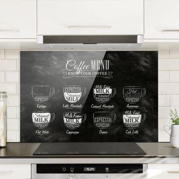 Paraschizzi in vetro - Coffees chalkboard - Orizzontale 2:3