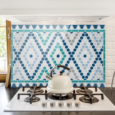 Paraschizzi in vetro - Moroccan tile pattern turquoise blue - Orizzontale 2:3
