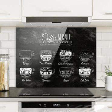 Paraschizzi in vetro - Coffees chalkboard - Orizzontale 3:4