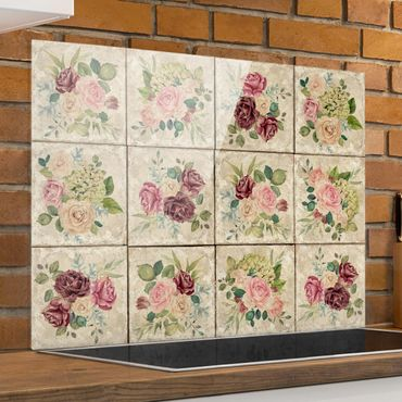 Paraschizzi in vetro - Vintage roses and hydrangeas - Orizzontale 3:4