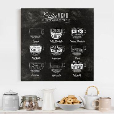 Stampa su tela - Coffees chalkboard - Quadrato 1:1