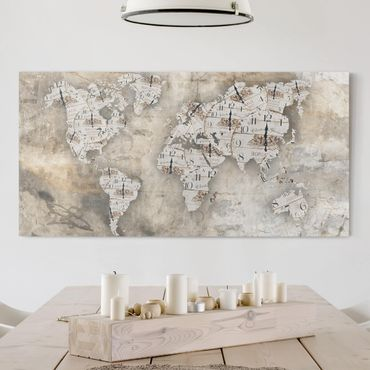 Stampa su tela - Shabby watches world map - Orizzontale 2:1