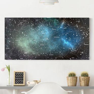 Stampa su tela - Constellations map Galaxy fog - Orizzontale 2:1