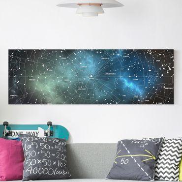 Stampa su tela - Constellations map Galaxy fog - Panoramico