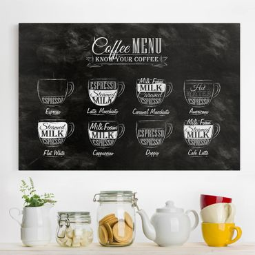 Stampa su tela - Coffees chalkboard - Orizzontale 3:2