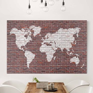 Stampa su tela - Brick world map - Orizzontale 3:2