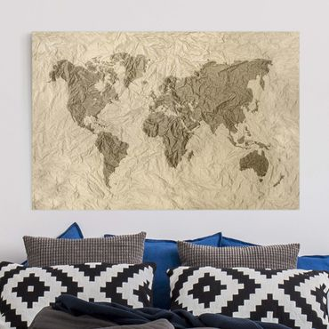 Stampa su tela - Paper world map Beige Brown - Orizzontale 3:2
