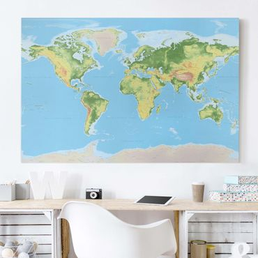 Stampa su tela - Physical World Map - Orizzontale 3:2