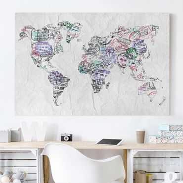 Stampa su tela - Passport stamp world map - Orizzontale 3:2