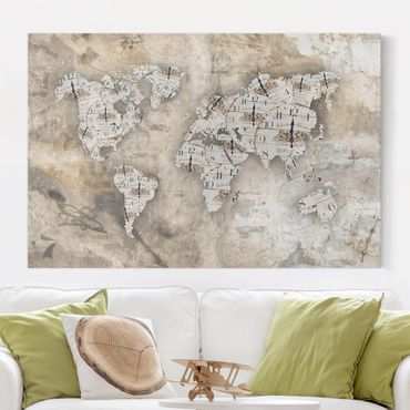 Stampa su tela - Shabby watches world map - Orizzontale 3:2
