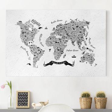 Stampa su tela - Typography World Map white - Orizzontale 3:2