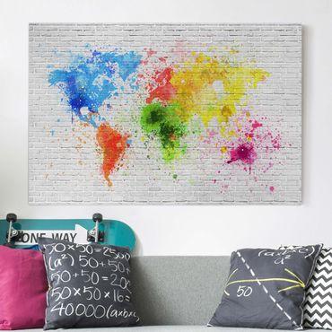 Stampa su tela - White brick wall world map - Orizzontale 3:2