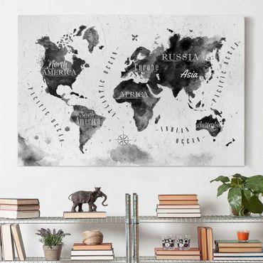 Stampa su tela - World Map watercolor black - Orizzontale 3:2