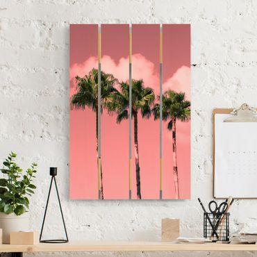 Stampa su legno - Palme contro il cielo rosa - Verticale 3:2