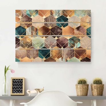 Stampa su legno - Elisabeth Fredriksson - Turquoise Geometria Golden Art Deco - Orizzontale 2:3
