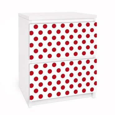 Carta adesiva per mobili IKEA - Malm Cassettiera 2xCassetti - No.DS92 Dot Design Girly White