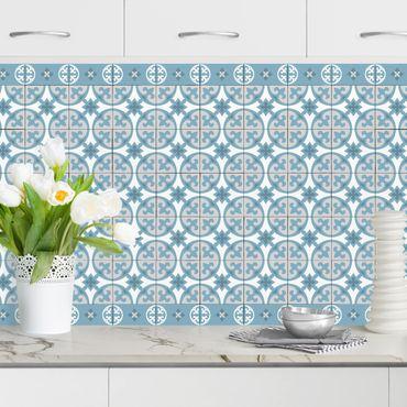 Rivestimento cucina - Piastrelle geometriche mix cerchi blu grigio