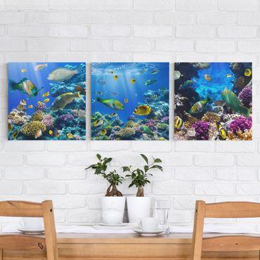 Stampa su tela 3 parti - Underwater Trio - Quadrato 1:1