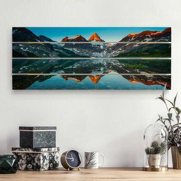 Stampa su legno - Montagna Paesaggio al lago Magog in Canada - Orizzontale 2:5