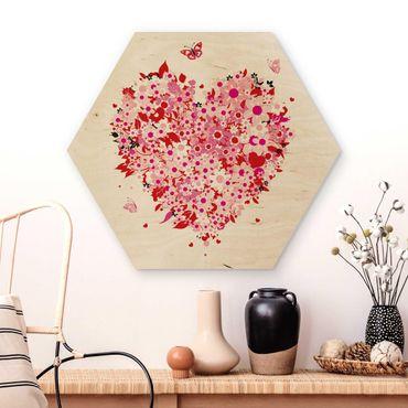 Esagono in legno - Retro cuore floreale