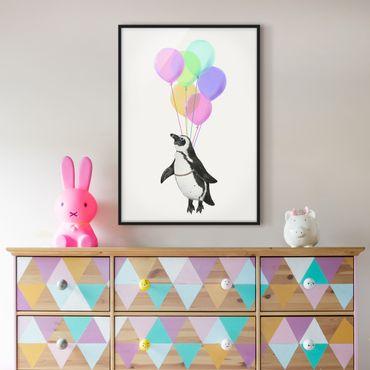 Poster con cornice - Illustrazione Penguin pastello Palloncini - Verticale 4:3