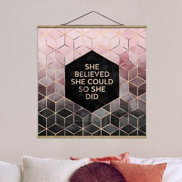 Quadro su tessuto con stecche per poster - Elisabeth Fredriksson - Ha creduto che potesse in oro rosa - Quadrato 1:1