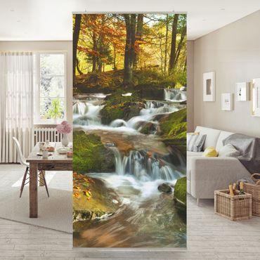 Tenda a pannello Waterfall autumn forest 250x120cm