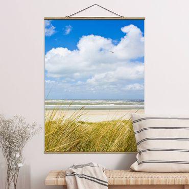 Foto su tessuto da parete con bastone - Sulla costa del Mare del Nord - Verticale 4:3