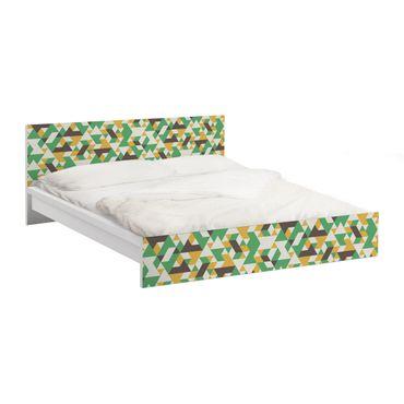 Carta adesiva per mobili IKEA - Malm Letto basso 140x200cm No.RY34 Green Triangles