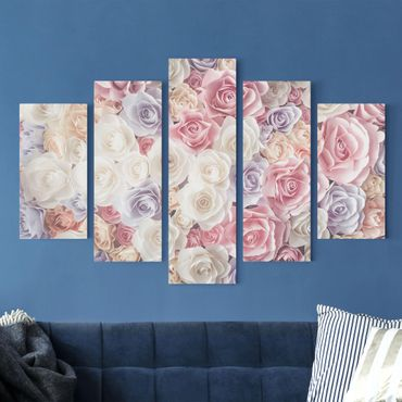 Stampa su tela 5 parti - Pastel Paper Art roses
