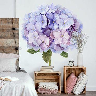 Adesivo murale - Acquerello Hydrangea blu Bloom XXL