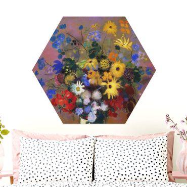 Esagono in Alu-dibond - Odilon Redon - fiori in un vaso
