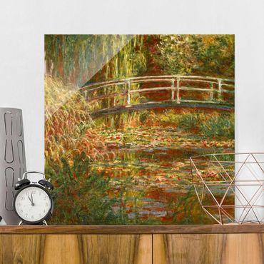 Quadro in vetro - Claude Monet - Lo stagno delle ninfee e Ponte giapponese (Armonia in rosa) - Quadrato 1:1