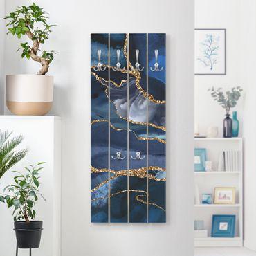 Appendiabiti in legno - Oro Glitter Onde Di Fronte Blu - Ganci cromati - Verticale