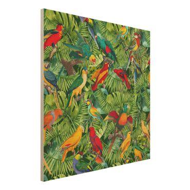 Stampa su legno - Colorato collage - Parrot In The Jungle - Quadrato 1:1