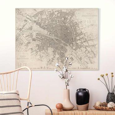 Stampa su tela - Vintage mappa di Parigi - Orizzontale 3:4