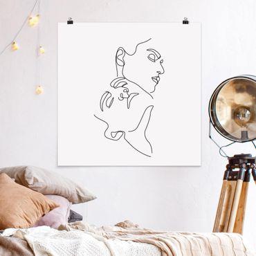 Poster - Line Art Women Faces Bianco - Quadrato 1:1