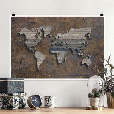 Poster - Mappa del mondo di legno Griglia - Orizzontale 2:3