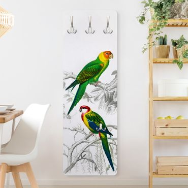 Appendiabiti - Grafico parete Vintage Due pappagalli Verde Rosso