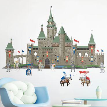 Adesivo murale - Castello del Grande Cavaliere di cavalieri e cavalli