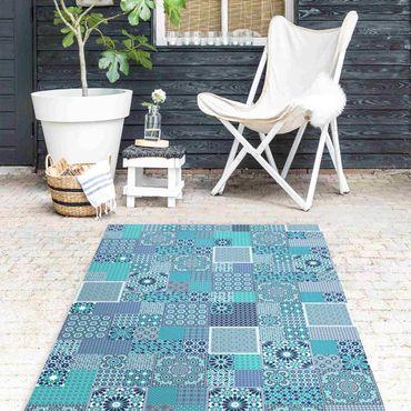 Tappeti in vinile - Mosaico di piastrelle marocchine in turchese e bianco - Verticale 1:2