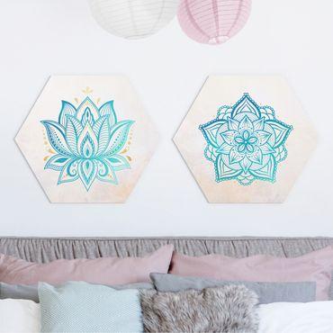 Esagono in forex - Mandala Lotus Set oro blu