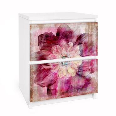Carta adesiva per mobili IKEA - Malm Cassettiera 2xCassetti - Grunge Flower