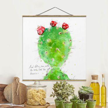 Foto su tessuto da parete con bastone - Cactus Con Versetti della Bibbia IV - Quadrato 1:1