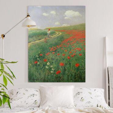 Quadri su tela - Pál Szinyei-Merse - Paesaggio estivo con Una fioritura di papavero