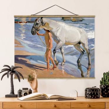 Foto su tessuto da parete con bastone - Joaquin Sorolla - Il Bagno del cavallo - Orizzontale 3:4