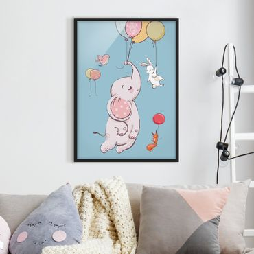 Poster con cornice - Flying Elephant, Rabbit And Squirrel - Verticale 4:3